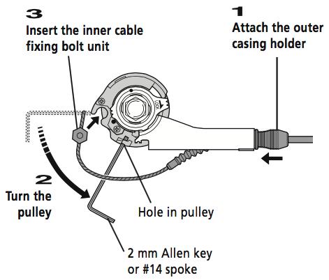 猴子: Replacing shifter cable for Shimano Nexus Revo Shift 8 with
